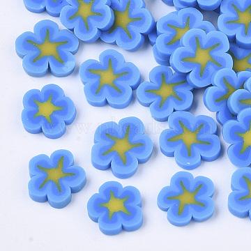 Handmade Polymer Clay Cabochons, Flower, Deep Sky Blue, 7.5~10x1~2mm(X-CLAY-R087-12A)