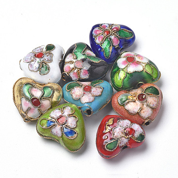 Handmade Cloisonne Beads, Heart, Mixed Color, 13~14x16x8mm, Hole: 1.5mm(CLB-S006-08)