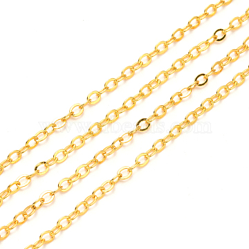Brass Cable Chains, Soldered, Flat Oval, Golden, 2.2x1.9x0.3mm, Fit for 0.6x4mm Jump Rings(X-CHC-T008-06A-G)