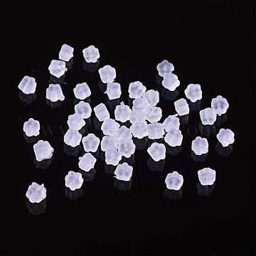 Plastic Ear Nuts, Earring Backs, White, Size: about 2.5mm long, 4mm wide, 2.5mm thick, Hole: 0.7mm(X-E374Y)