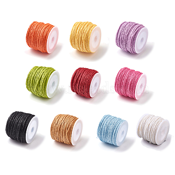 Raffia Paper Cords for DIY Jewelry Making, Paper Twine, Mixed Color, 1.5mm, about 21.87 yards(20m)/roll(OCOR-WH0052-06-M)