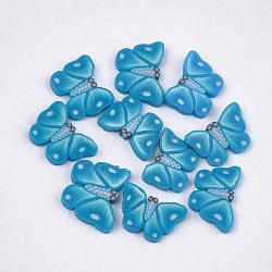 Cabochons en pâte polymère manuels, nail art décoration, papillon, steelblue, 4.5~5.5x6~7x0.5~1 mm; environ 1000 PCs / sac(CLAY-S093-18I)