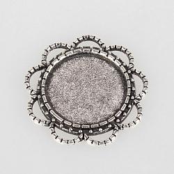 Accessoires pour cheveux vintage supports alliage fleurs cabochon de lunette de style tibétain, argent antique, plat plateau rond: 18 mm; 28x28x2 mm, Trou: 5x2mm(X-TIBEP-O006-01AS)