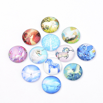 Flatback Glass Cabochons for DIY Projects, Animal Pattern, Dome/Half Round, Mixed Color, 10x3.5mm(X-GGLA-S029-10mm-008)