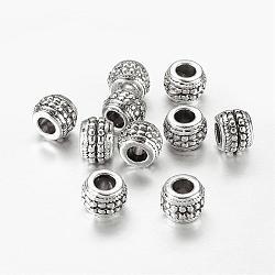 Argent antique plaqué rondelle grosses perles européennes d'alliage de trou, sans plomb et sans cadmium et sans nickel, taille: environ 9.5mm de diamètre, épaisseur de 7mm, Trou: 4mm(X-LF11511Y-NF)