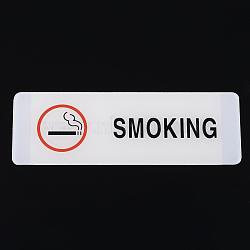 Знак уведомления о смоле, разрешить курить, прямоугольные, белые, 18x6x0.2 см(AJEW-K015-D02)