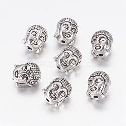 тибетском стиле шарики сплава, свинца и никеля бесплатно, Голова Будды, Старинное серебро, 11x9x8 mm, отверстия: 2 mm