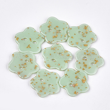 2-Hole Cellulose Acetate(Resin) Buttons, Flower, DarkSea Green, 29x29x2.5mm, Hole: 3mm(BUTT-S023-13B-01)