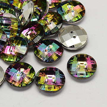 Taiwan Acrylic Rhinestone Buttons, Faceted, 2-Hole, Disc, Colorful, 10x4mm, Hole: 1mm(BUTT-F022-10mm-13)