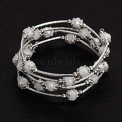 Cinq boucles verre d'emballage perles bracelests, avec les accessoires en métal, floral blanc, 56mm(BJEW-JB01962-05)
