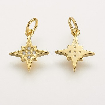 Sterling Silver Charms, with AAA Cubic Zirconia, Star, Golden, 13x11x1.5mm, Hole: 3mm(X-STER-K029-16G)