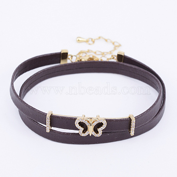 PU Leather Cord Choker Necklaces, with Brass Micro Pave Cubic Zirconia Links and Lobster Claw Clasps, Butterfly, Coconut Brown, Golden, 13.38 inches(34cm)(NJEW-H477-12G)