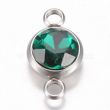 Stainless Steel Color Green Flat Round Glass Links