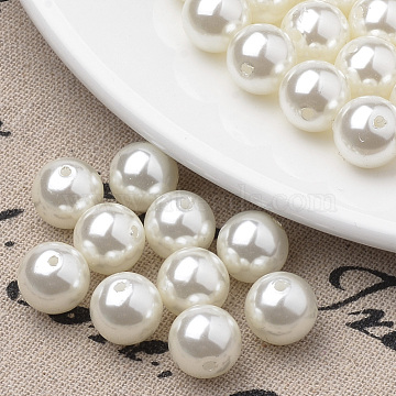 Eco-Friendly Plastic Imitation Pearl Beads Strands, High Luster, Grade A, Round, Beige, 5mm, Hole: 1.2mm, about 180pcs/strand, 35.4 inches(X-MACR-S285-5mm-05)