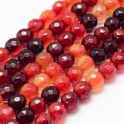 Natural Agate Bead Strands, Round, Faceted, Dyed & Heated, DarkOrange, 6mm, Hole: 1mm; about 62~63pcs/strand, 14.5