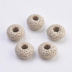 Perles européennes en lave naturelle, teint, Perles avec un grand trou   , plat rond, bisque, 15~16x8.5~9mm, Trou: 4~5mm(G-E477-A04)