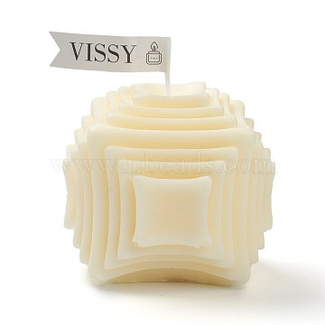 Cube Shaped Aromatherapy Smokeless Candles, with Box, for Wedding, Party, Votives, Oil Burners and Christmas Decorations, Light Yellow, 7.9x7.9x7.4cm(DIY-B004-B02)