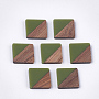 20mm OliveDrab Square Resin+Wood Cabochons(X-RESI-S358-90C)