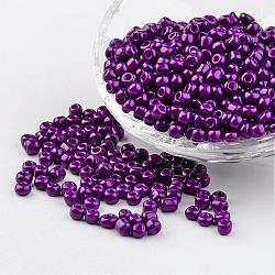6/0 Baking Paint Glass Seed Beads, MediumOrchid, 4~5x3~4mm, Hole: 1~2mm; about 427pcs/50g