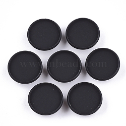 Spray Painted Environmental Iron Slide Charms Cabochon Settings, For Hair Band and Hair Tie Decoration, Cadmium Free & Lead Free, Flat Round, Black, Tray: 16mm; 18x6mm, Hole: 3.5x5mm(X-IFIN-T009-17A-01)