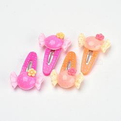Kits d'accessoires de cheveux pour beaux enfants, pinces à cheveux clipsables en plastique, avec de la résine de bonbon, couleur mixte, 36mm; 4 pcs / sac; 10 sacs / groupe(OHAR-S193-34)