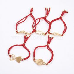 """Bracelets réglables de bolo de corde en nylon, Bracelets coulissants, chaînes de boîte, avec 304 accessoires de strass en acier inoxydable, formes mixtes, or, rouge, 8-7/8""""~9-1/2"""" (22.5~24cm); 4~5mm(BJEW-F374-C)"""