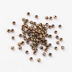 Perles séparateurs en fer, sans nickel, rond, couleur de bronze antique, environ 3.2 mm de diamètre, épaisseur de 3mm, Trou: 1.2mm(X-E006-NFAB)