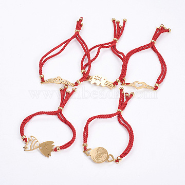 Adjustable Nylon Cord Bolo Bracelets, Slider Bracelets, Box Chains, with 304 Stainless Steel Rhinestone Findings, Mixed Shapes, Golden, Red, 8-7/8inches~9-1/2inches(22.5~24cm); 4~5mm(BJEW-F374-C)