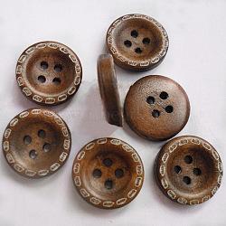 4 trous boutons ronds creux central, Boutons en bois, coconutbrown, environ 15 mm de diamètre, 100 pcs /sachet (FNA1611)