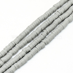 brins de perles en argile polymère faits à la main, perles heishi, disque / rond plat, lightgrey, 6x0.5~1 mm, trou: 2 mm; environ 320~447 perle / brin, 15.74(X-CLAY-T002-6mm-20)