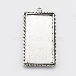 Supports de cabochon en alliage de style tibétain, sans plomb et sans cadmium, rectangle, argent antique, plateau: 47.5x24.5 mm; 59x32x3 mm, Trou: 3mm(X-TIBEP-A12332-AS-RS)
