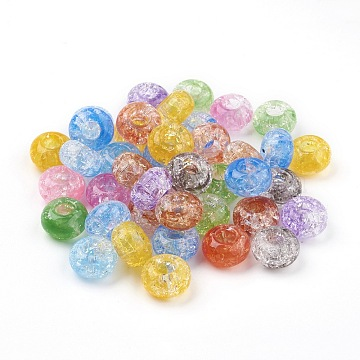 Transparent Crackle Acrylic Beads, Large Hole Beads, Rondelle, Mixed Color, 14x8mm, Hole: 5.5mm; about 510pcs/500g(MACR-E025-30)