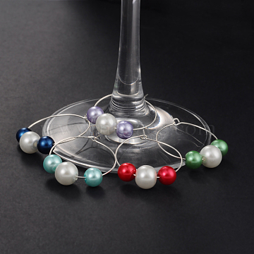 Glass Pearl Beads Wine Glass Charms, with Brass Wine Glass Charm Rings Hoop Earrings, Silver Color Plated, Mixed Color, 30mm(AJEW-JO00036)