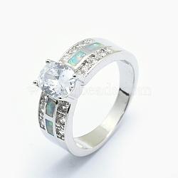 Bagues avec zircon cubique, avec opale synthétique et accessoires en laiton, Plaqué longue durée, ovale, taille 7, clair, platine, 17.5mm(RJEW-O030-02P-C)