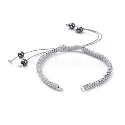 """Ajustable coréen cordes polyester ciré bracelet fabrications, avec des perles d'hématite synthétiques non magnétiques et des anneaux de saut en fer, grises , 7-1/8""""~12"""" (18~30.5 cm)(AJEW-JB00511-03)"""