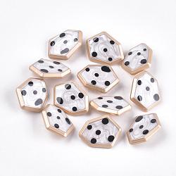 Boutons en alliage de zinc, avec résine époxy, polygone, couleur or mat, blanc crème, 21.5x27.5x8mm, Trou: 2mm(X-BUTT-S023-04B)