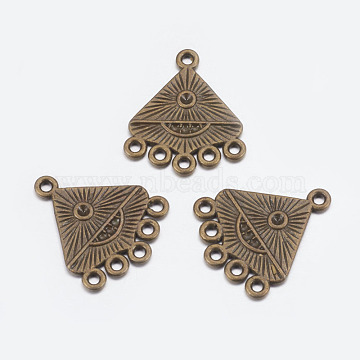 Alloy Connector Rhinestone Settings, Chandelier Components, Lead Free and Cadmium Free, Alloy Links, Triangle, Antique Bronze Color, about 20mm long, 19mm wide, 2mm thick, hole: 1.5mm(X-EA10685Y-AB)