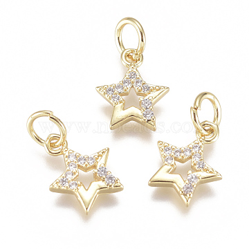 Brass Micro Pave Cubic Zirconia Charms, with Jump Ring, Long-Lasting Plated, Star, Clear, Real 18K Gold Plated, 11x8x2mm, Hole: 3mm(X-ZIRC-F111-15G)