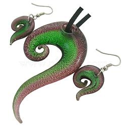 Kits bijoux en verre feuille d'argent faits à la main, collier: environ 42 mm de large, Longueur 76mm, Trou: 6mm, boucle d'oreille: 18 mm de large, Longueur 26mm, Trou: 2mm(X-SLSP366J-4)