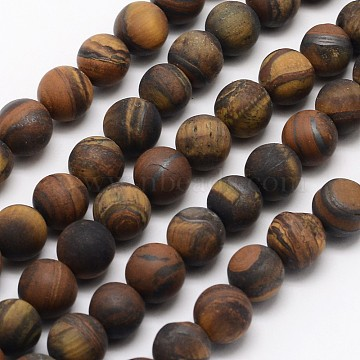 Natural Tiger Eye Beads Strands, Frosted, Round, 6mm, Hole: 0.8mm, about 60pcs/strand, 14.1 inches(X-G-D688-6mm)
