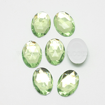Acrylic Rhinestone Flat Back Cabochons, Faceted, Buttom Silver Plated, Oval, LightGreen, 25x18x5.5mm(X-GACR-Q011-18x25-11)