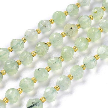 Natural Prehnite Beads Strands, with Seed Beads, Six Sided Celestial Dice, 8~8.5x8~8.5mm, Hole: 1mm, about 40pcs/strand, 15.75inches(40cm)(G-A030-B07-8mm)