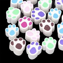 Cabochons en pâte polymère manuels, empreintes de pattes de chien, couleur mixte, 14~15x14~15x10mm(CLAY-T013-15)