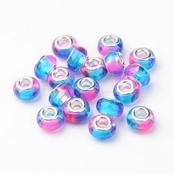 Perles européennes en alliage, perles de rondelle avec grand trou , avec des noyaux de cuivre, argenterie, hotpink, 14x9mm, Trou: 5mm(RPDL-H001-06)