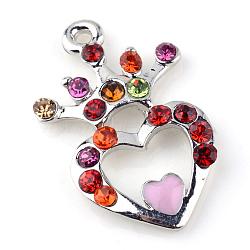 Pendentifs en alliage avec strass, Style émail, coeur avec la couronne, platine, colorées, 21.5x13x2.5mm, Trou: 1.5mm(X-ALRI-S162-105P-1)
