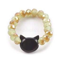 Anneaux d'étirement en verre électrolytique, avec coquille, tête de chat, Darkkhaki, Taille: 10, 20mm(RJEW-JR00237-05)