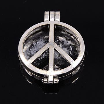 Tibetan Style Peace Sign Diffuser Locket Pendants, Lead Free, Platinum, 44x33x9mm, Hole: 6x4mm, Tray: 30mm(X-TIBEP-A24739-P-LF)