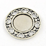 Antique Silver Flat Round Alloy Cabochon Settings(X-TIBE-Q038-003AS-RS)