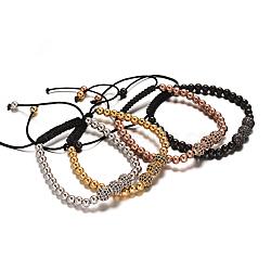 Bracelets de perles tressés ronds en 304 acier inoxydable, avec micro en laiton paver perles cubes de zircone, couleur mixte, 50~90mm(BJEW-O124-29)
