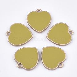 пластмассовые подвески ccb, с эмалью, сердце, darkkhaki, 24x22x3.5 mm, отверстия: 1.8 mm(CCB-T007-01E)